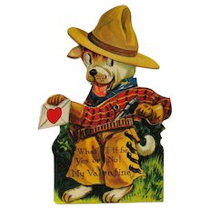 Vintage Louis Katz Mechanical Valentine - Cowboy Dog Valentine - 1920 Valentine Card