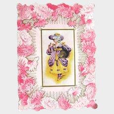 Edwardian Era Valentine - Embossed Flowers Valentine - Collectible Valentine Card