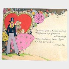 Vintage Carrington Co Valentine - Romantic Valentine - Collectible Valentine Card