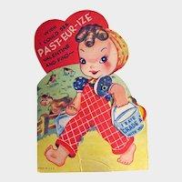 Vintage Mechanical Valentine - Girl With Milk Pail - Farmyard Scene