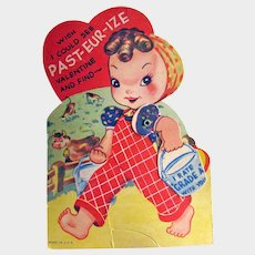 Vintage Mechanical Valentine - Girl With Milk Pail - Farmyard Scene
