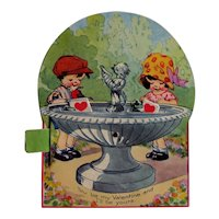 Adorable Vintage German Mechanical Valentine -  Fountain with Cherub - Collectible Valentine
