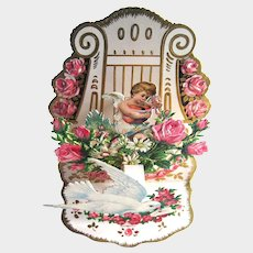 Vintage Fold Out Valentine Card - Cherub and Dove - Stand Up Valentine