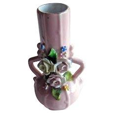 Pink German Elfinware Vase - Forget Me Not Flowers - Made in Germany