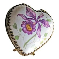 Petite Porcelain Heart Box - Vintage Box Hand Painted Two Sides - Unique Vintage Box