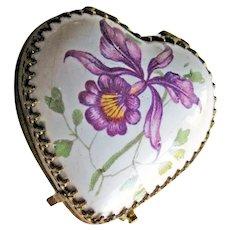 Petite Porcelain Heart Box - Vintage Box Hand Painted Two Sides - Unique Vintage Box