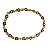 Roxanne Assoulin Vintage Necklace - Gold-Tone and Black Enamel Necklace