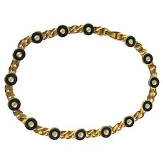 Roxanne Assoulin Vintage Necklace - Gold-Tone and Black Enamel Necklace