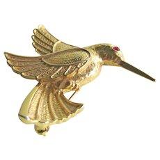 Hummingbird Pin - Gold-tone Hummingbird - Hummingbird in Flight