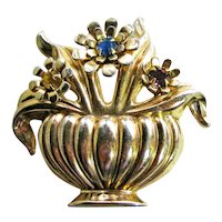 Coro Vase with Flowers Pin - Coro Urn - Coro Basket Pin