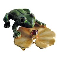Original by Robert Frog Pin - Frog on Lily Pad Pin - Enameled Frog Brooch - Costume Jewellery