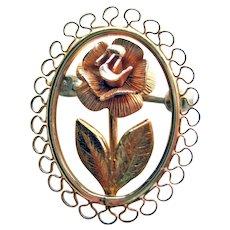 Krementz Single Rose Pin - Rose and Yellow Gold Filled Pin - Scatter Pin