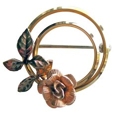 Krementz Double Circle Single Rose Pin - Yellow and Rose Gold-filled Brooch