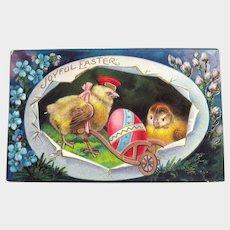 Vintage Easter Postcard - Chicks in Huge Egg - Chick Pushing Cart with Egg