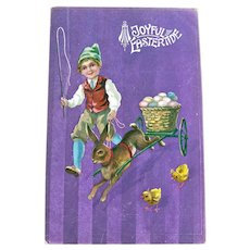Vintage Easter Postcard - Boy Running with Rabbit Pulling Cart