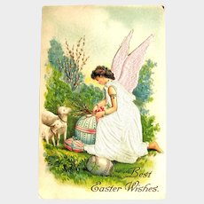 Vintage Easter Postcard - Angel with Silk Dress and Wings - S. Langsdorf Card