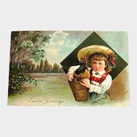 Vintage Easter Postcard Child with Chicken in Basket - Pastoral Scene