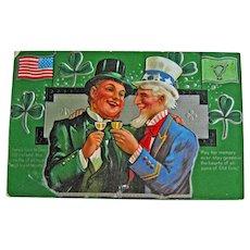 Vintage St. Patrick's Day Postcard - Uncle Sam and Irish Man Sharing Cocktail