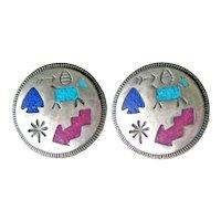 Carolyn Pollack Sterling Navajo Storyteller Earrings - Picture Symbol Earrings