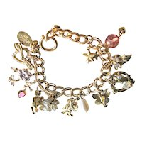 Kirks Folly Midsummer Nights Dream Retired Charm Bracelet -  Angels, Fairy, Hearts, Simulated Pearls, Pink Crystals