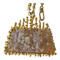 Vintage Kenneth J Lane Natural Crystal Necklace - KJL Chunky Necklace - Retired Necklace