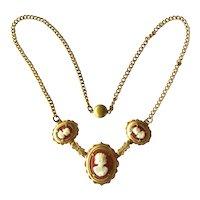 Vintage Cameo Necklace - Gold-tone Cameo Necklace - Three Cameo Necklace