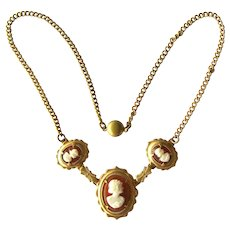 Vintage Cameo Necklace - Gold-tone Cameo Necklace - Three Cameo Necklace