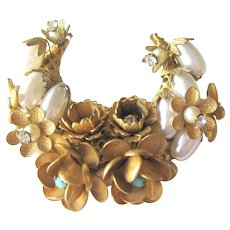Gorgeous Haskell Style Crescent Brooch - Pin with Simulated Pearls Turquoise Stones and Rhinestones