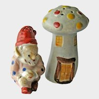 Gnome and Mushroom Salt and Pepper - Toadstool House and Gnome
