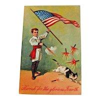 Vintage 4th of July Postcard - Boy Shooting Off Fireworks - Scared Cat