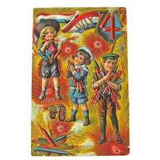 Vintage 4th of July Postcard - Children Shooting Firecrackers - Collectible Holiday Postcard