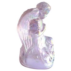 Boyd Crystal Art Glass Angel / Pink Carnival Glass Angel