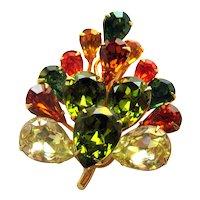 Vintage Teardrop Rhinestone Pin - Fall Colors Rhinestone Pin -