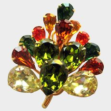Vintage Teardrop Rhinestone Pin - Fall Colors Rhinestone Pin -