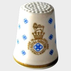 Royal Doulton Bone China Thimble - Royal Doulton Logo - Made in England