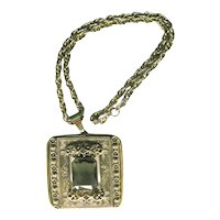 Vintage Very Large Pendant - Pendant with Smoky Quartz Stone - Pendant with Stamped Design