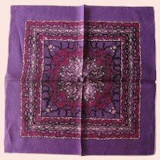 Monique Designer Hankie - Intense Purple Hankie - Abstract Design Handkerchief