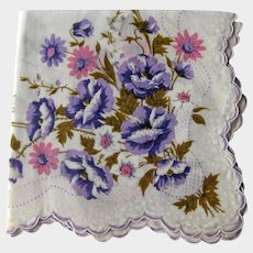 Vintage Hankie with Purple and Pink Flowers - White on White Handkerchief