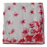 Vintage Hankie with Red Maple Leaves - White on White Hankie - Collectible Handkerchief