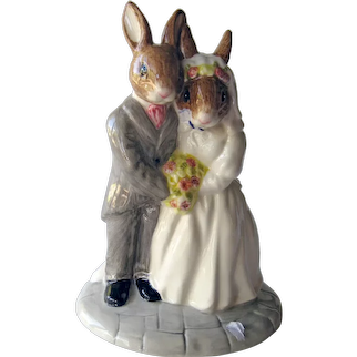 Vintage Royal Doulton Bride and Groom Wedding Day Bunnykins - Wedding Gift - Wedding Cake Topper