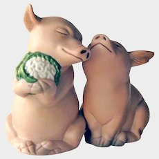 Vintage Porcelain Pig Salt and Pepper Shakers- Pig Wedding Shakers