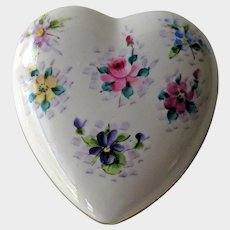Vintage Heart Box with Hand Painted Flowers - Osborne Heart Box - Trinket Box