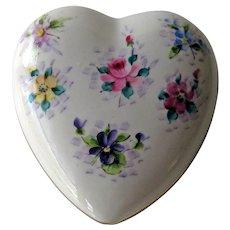 Vintage Heart Box with Hand Painted Flowers - Osborne Heart Box - Trinket Box