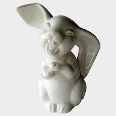 Vintage Happy Big Ear Bunny Figurine - Ardalt Japan Rabbit - White Rabbit