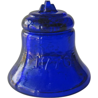 Vintage Degenhart Bicentennial Bell - Cobalt Glass Bell - Signed Bell