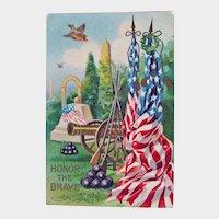 Vintage Memorial Day Postcard - Honor the Brave Postcard - Patriotic Postcard