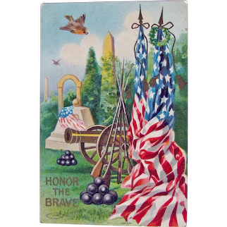 Vintage Memorial Day Postcard - Honor the Brave Postcard - Patriotic Postcard