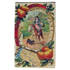 Vintage Unused Colorful Postcard - With Every Good Wish Card - Girl on Pony