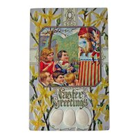 RARE Punch and Judy Show Postcard - Easter Greetings - Forsythia Background - Easter Eggs