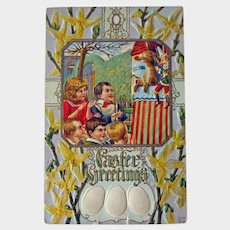 Punch and Judy Show Postcard - Easter Greetings - Forsythia Background - Easter Eggs